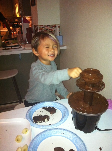 chocolate fountain boy
