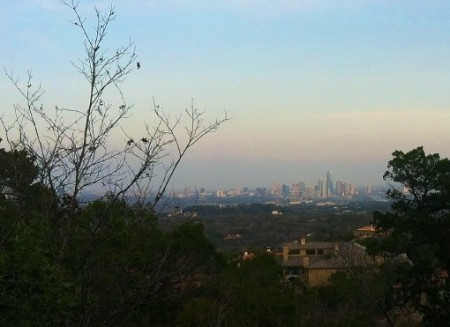 austin skyline from west lake hills