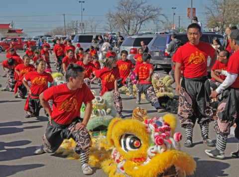 stretching lion dancers austin tx