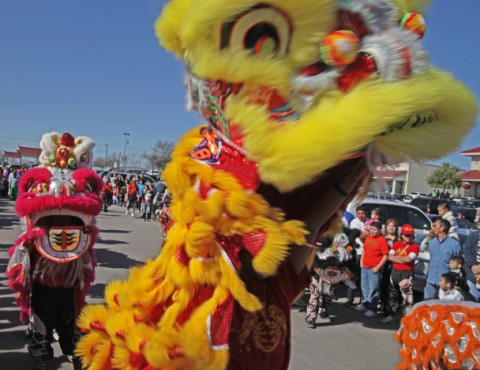 lion and dragon dancers austin texas chinatown usa