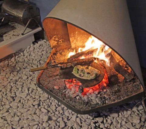 grilled fireplace pizza midcentury modern cone