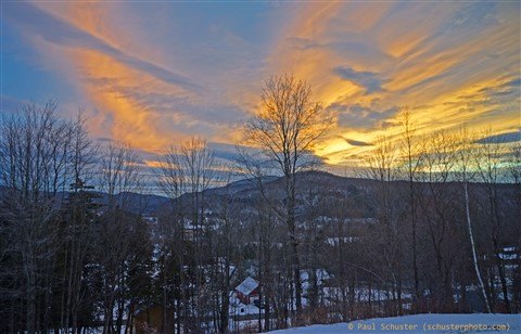 sunset over the village of hardwick vt