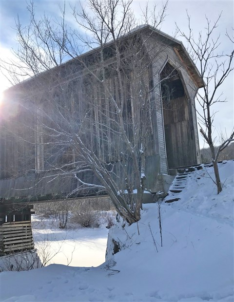 fisher covered bridge wolcott vt jan 2018 snow
