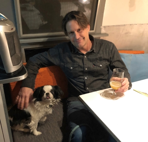 Goji the Japanese Chin in the Craft Beer Airstream