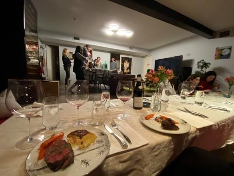 burgundy wine glasses steak dinner