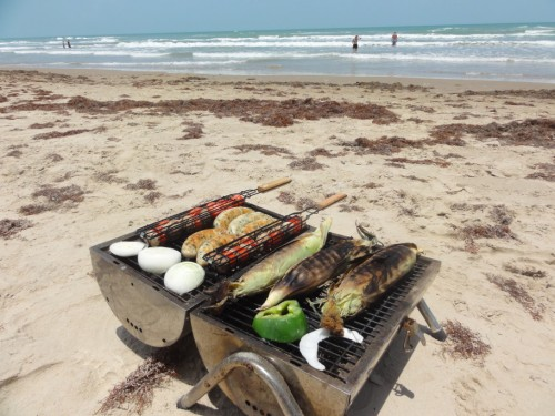 south padre island grilled corn and sausage