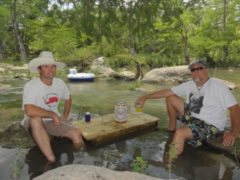 table floating in the blanco river wimberley
