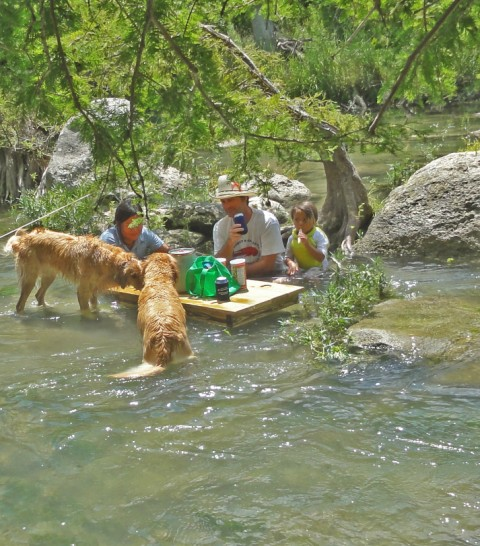 happy family in the blanco river and their floating coffee table extreme picnicing picnic austin