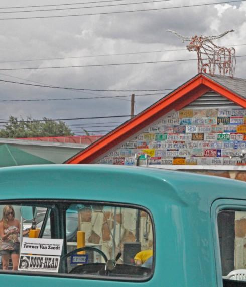 townes van zandt bumper sticker on vintage truck austin