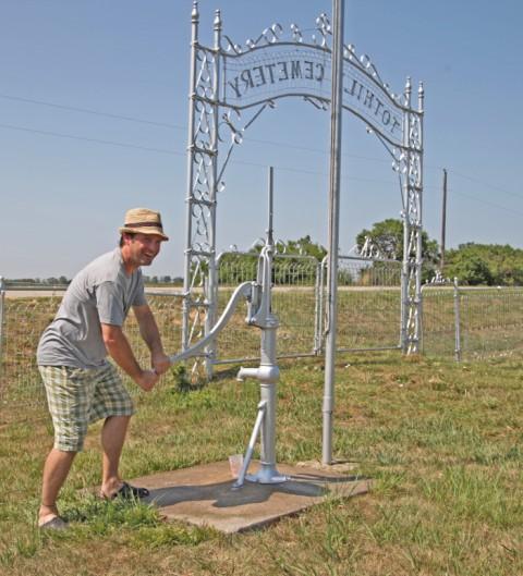 dork operates fresh water well pump in a cemetery nebraska