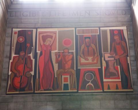 nebraska state capitol building mural midcentury modern art kenneth evett 1956 labors of the heart