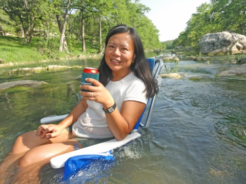 cooling off in the blanco river near wimberley and fischer texas