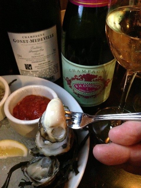 oysters and champagne at soif wine bar santa cruz