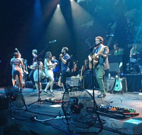 audience dances on stage belle & sebastian austin texas 2013