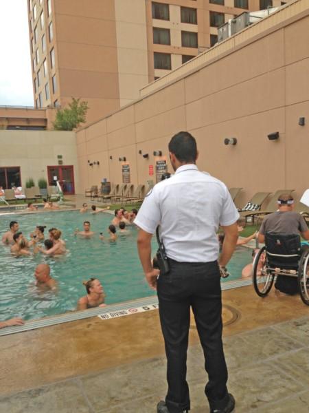 hotel pool goes wild