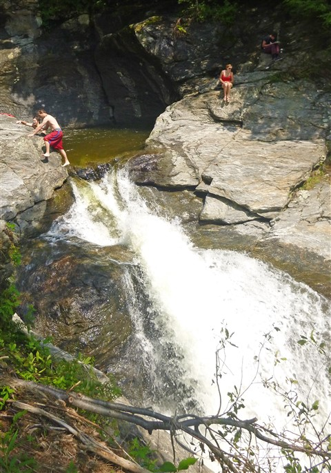 tempting fate over the falls at the bolton potholes vt