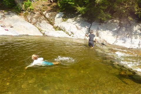 swimming at bolton falls potholes vermont