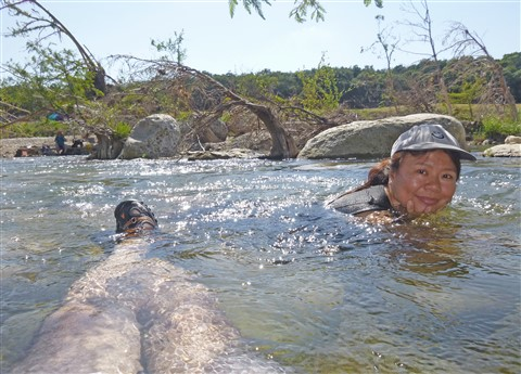 relaxing in the blanco river wimberley july 2015
