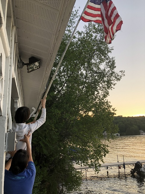 joe's pond lake house flag hoist 4th of july west danville vt