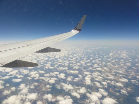 american airlines wing in flight pic
