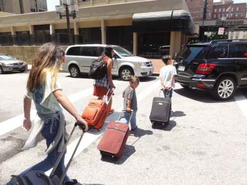 traveling family on the move