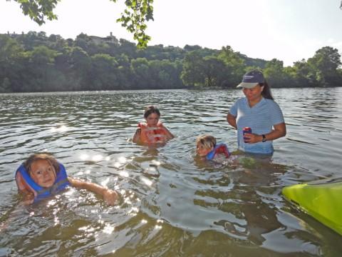 kids in ladybird johnson lake town lake austin redbud island