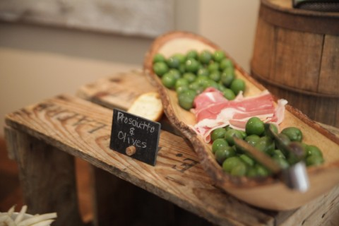 green olives and prosciutto