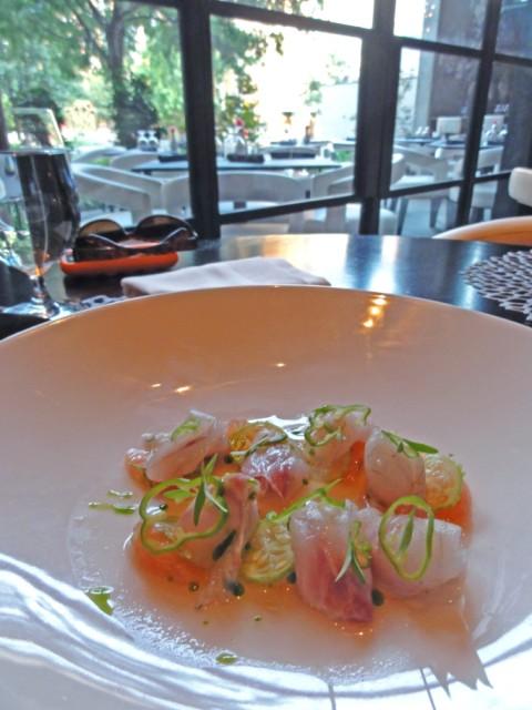 sea bass crudo at trace w hotel austin restaurant