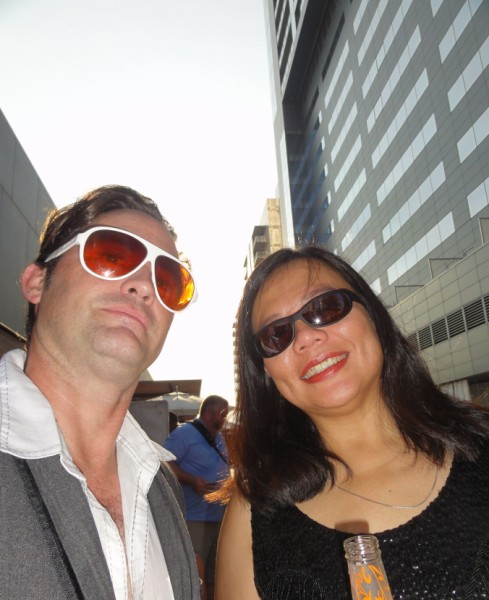 paul schuster and wife at w hotel party austin monthly coco breve party