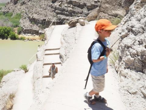 steep steps hike at santa elena canyon big bend kids