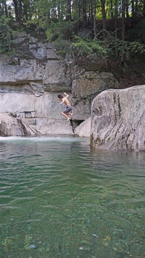 rock jumping at warren falls vt