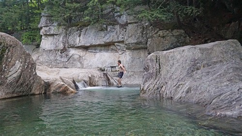 paul schuster of vermont jumps at warren falls