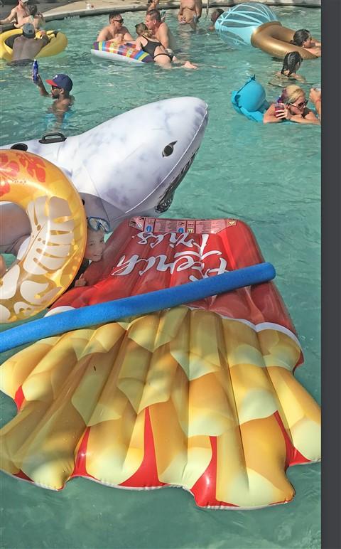 shark floatie hotel lorenzo party dallas