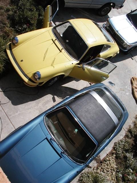 porshe 912e yellow 911e targa blue