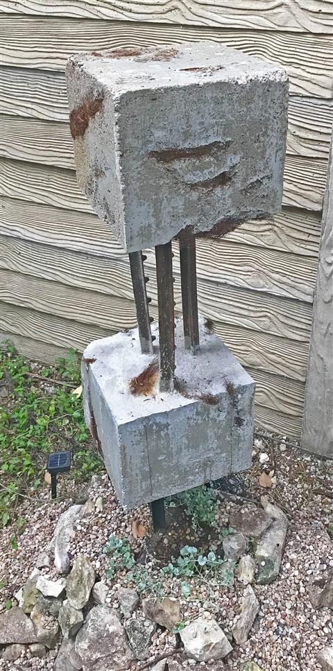 concrete and rusty metal scultpure paul schuster sculptor austin