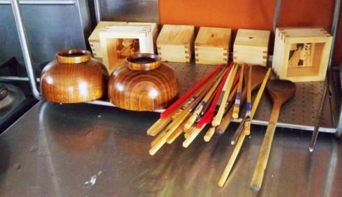chopsticks and sake boxes