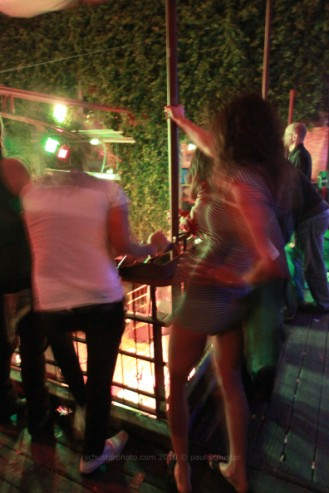 pole dancing back stage at cedar st courtyard