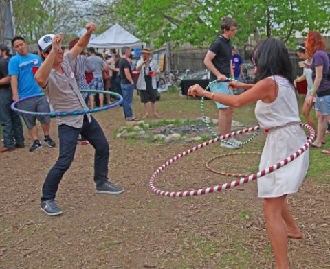 hula hooping at yelp sxsw 2012 backyard blowout