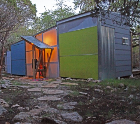 wimberley off grid cabin at dusk