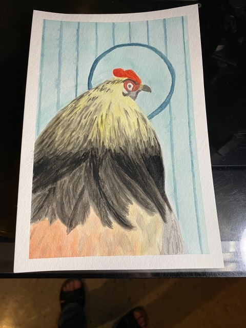 rooster at the glory hole watercolor
