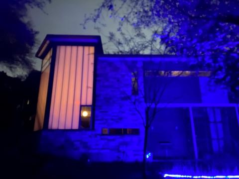 AMH austin mod house at night