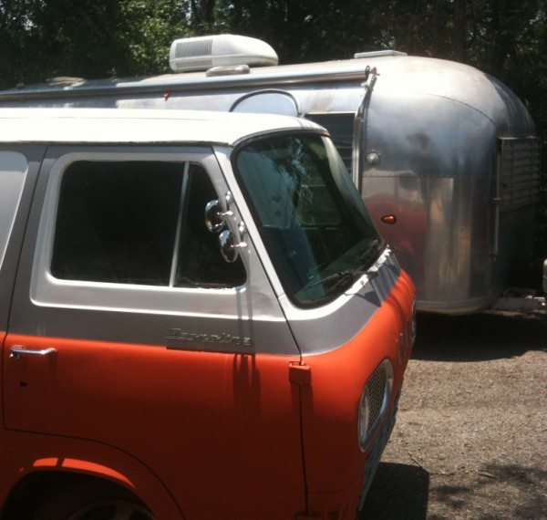 orange and white vintage van econoline
