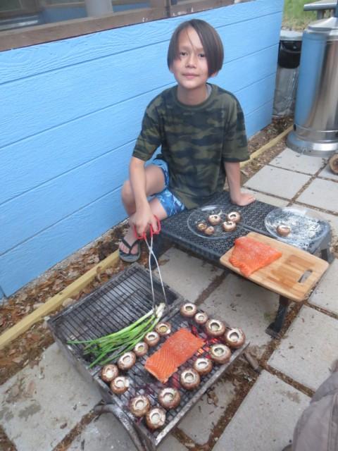 grilled salmon and mushroom broth