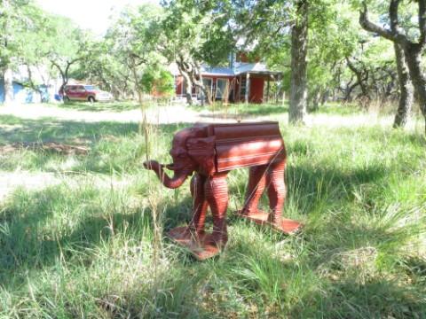 yard art elephants wimberley texas