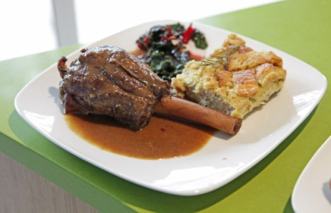 braised lamb shank with roquefort bread pudding and swiss chard