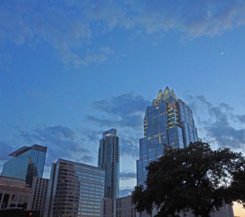 austin frost bank building night skyline 2014