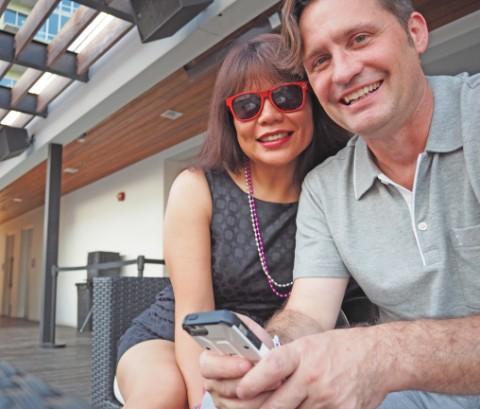 selfies at rio rooftop lounge pool