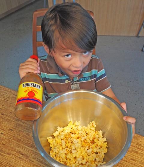 louisiana hot sauce on popcorn