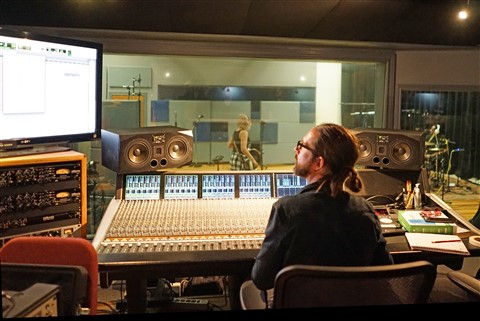 Chris Bell Engineer in the Studio at Firehouse