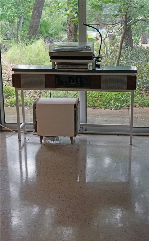 mid century modern styled stereo console